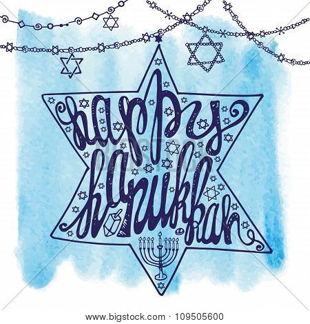Happy Hanukkah lettering.David Star,Watercolor splash