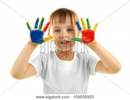 Little girl with hands in paint, isolated on white