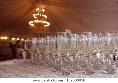 Many glasses of champagne at wedding reception