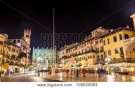 Piazza Delle Erbe (market's Square) In Verona - Italy