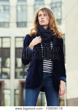 Young beautiful  woman. Glamour fashion portrait outdoor. Street style.