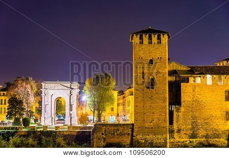 The Arco Dei Gavi And Castelvecchio Castle In Verona - Italy