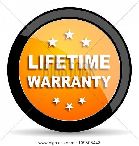 lifetime warranty orange icon