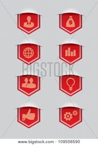 Red Ribbon Award Banner With Conceptual Symbols Vector Illustration
