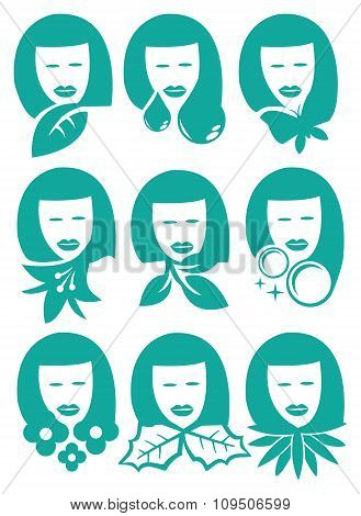 Woman With Nature Element Symbols Vector Icon Set