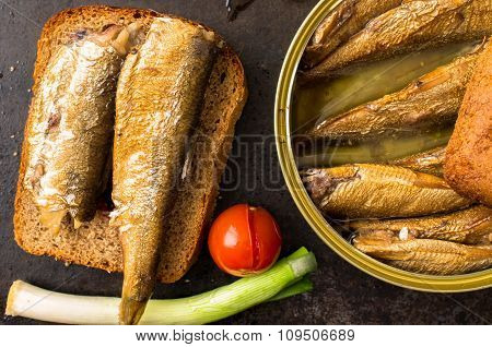 Sandwich With Smoked Sardines And Pickled Tomatoes.