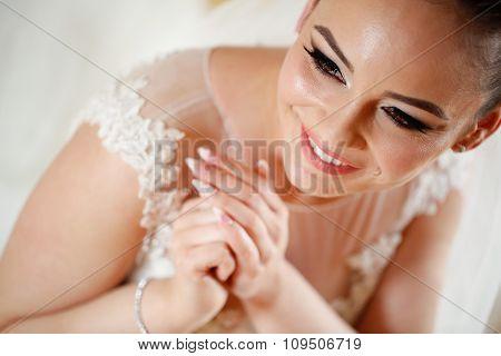 Potrait Of Beautiful Bride Smiling
