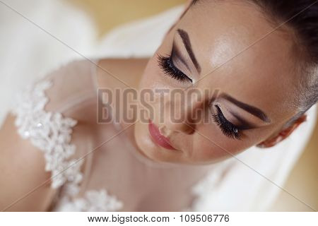 Potrait Of Beautiful Bride With Professional Makeup