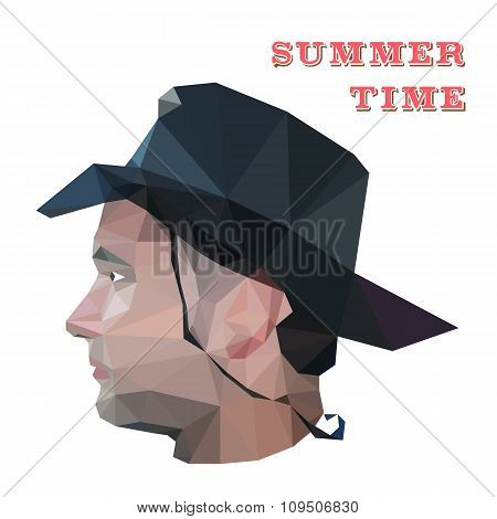 Profile of young man in origami style. illustration