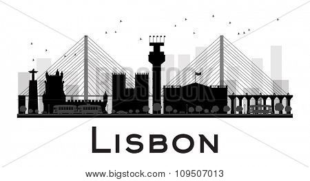 Lisbon City skyline black and white silhouette. Vector illustration. Simple flat concept for tourism presentation, banner, placard or web site. Business travel concept. Cityscape with famous landmarks