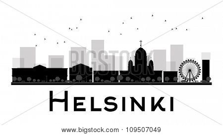 Helsinki City skyline black and white silhouette. Vector illustration. Simple flat concept for tourism presentation, banner, placard or web site. Business travel concept. Cityscape with landmarks