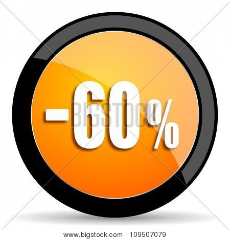60 percent sale retail orange icon