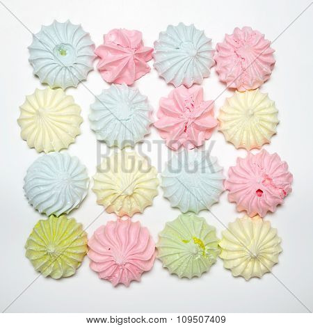 Sixteen Colored Meringues In A Square