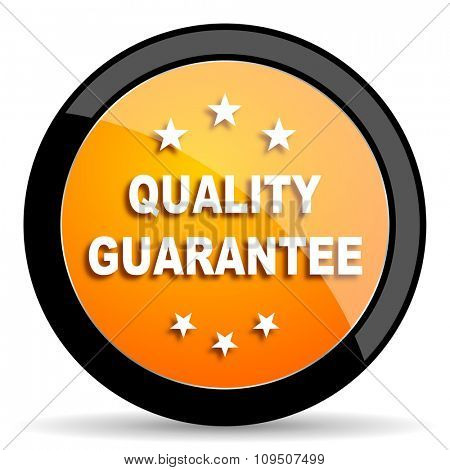 quality guarantee orange icon