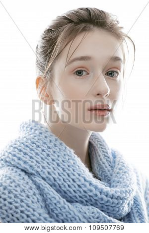 young real blond woman in scarf close up isolated