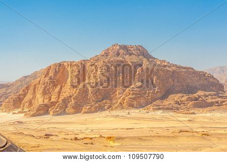 Road And Mountains In The Sinai Desert