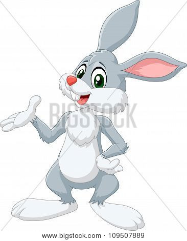 Cartoon bunny presenting isolated on white background