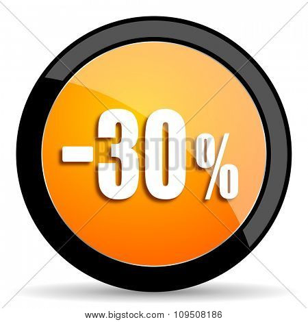 30 percent sale retail orange icon