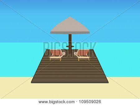 Sun Loungers And Parasol On A Platform