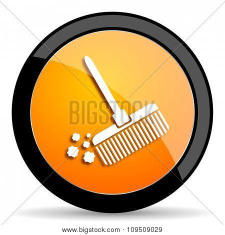 broom orange icon