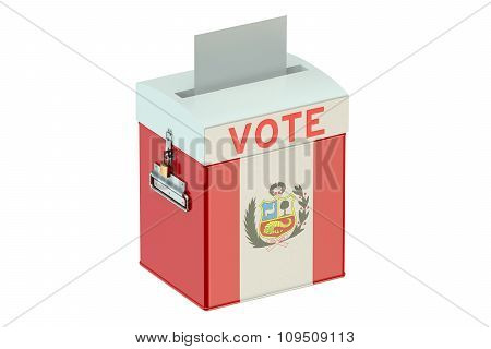 Ballot Box With Flag Of Peru
