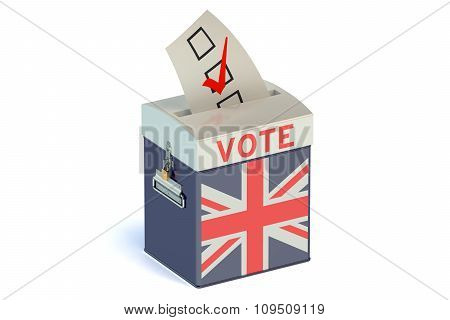 Ballot Box With Flag Of United Kingdom