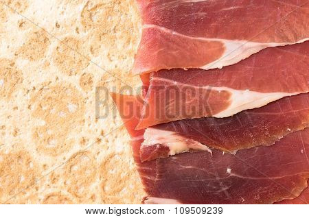 Spanish Ham Slices On A Thin Tortilla Bread