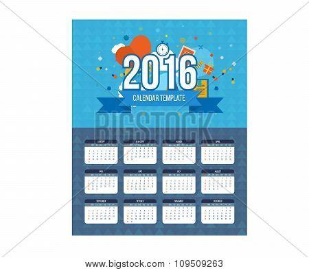 Christmas tree Calendar 2016 year design, English, Sunday start.