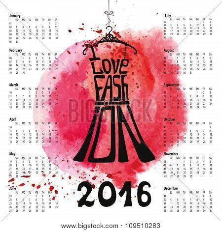 Calendar 2016 year.Lettering.Dress Silhouette