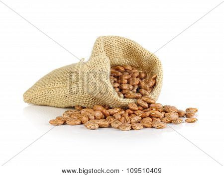 Pinto-beans Isolated In Sack On White Background