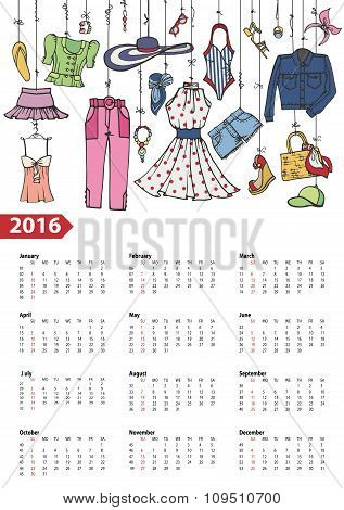 Calendar 2016 year.Summer fashion set.Colored