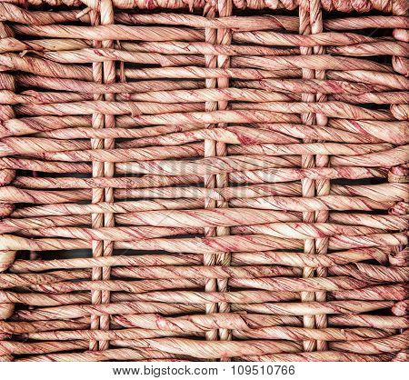 Red Wicker Basket Detail