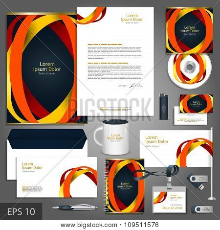 Black Corporate Identity Template With Color Round Elements