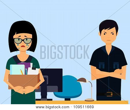 Dismissed. Sad woman and angry boss in office. Vector illustration