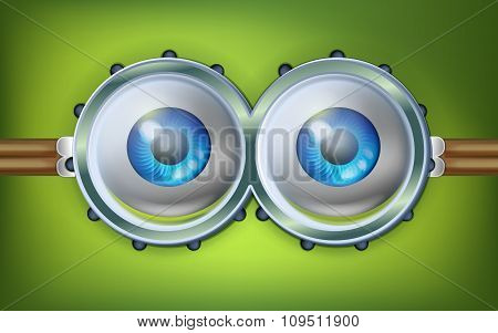 Alien open eyes with funny glasses