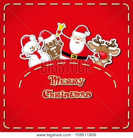 Vector Banner: Cute Figure Santa Claus, Snowman, Deer, Gingerbread Man In Jeans Pocket And Hand Draw