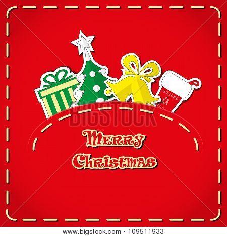Vector Banner: Cute Figures Christmas Tree, Gift Box, Santa's Sock, Bells In Jeans Pocket And Ha