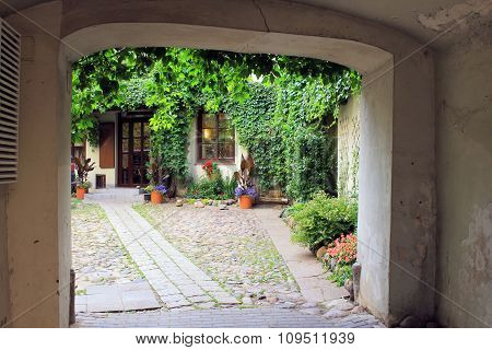 Arch In Old Village House, Small Yard And Flowers