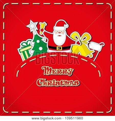 Vector Banner: Cute Santa Claus, Christmas Tree, Gift Box, Santa's Sock, Bells In Jeans Pocket A