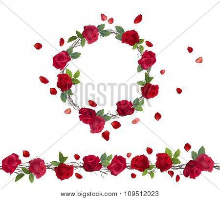 Blossoming branch of red roses. Endless pattern brush, round garland.