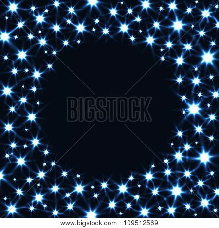 Round Frame with Glitter Stars isolated on Dark Background