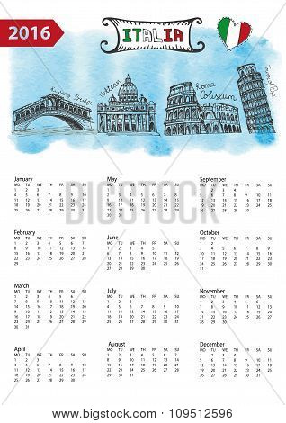 Calendar 2016.Italy Landmarks skyline,watercolor splash