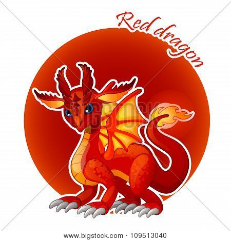 Cartoon red dragon closeup, vector illustration for your design needs