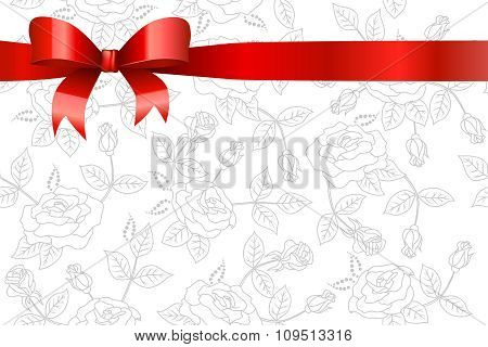 Background white flowers roses pattern with red bow vector