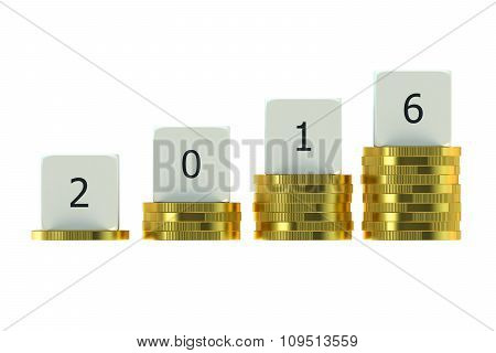 Year 2016 On Stacks Of Gold Coins, Financial Concept
