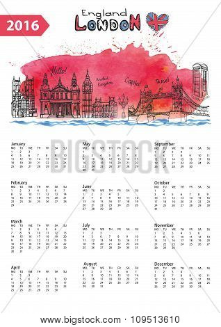 Calendar 2016.London Landmarks skyline,watercolor splash