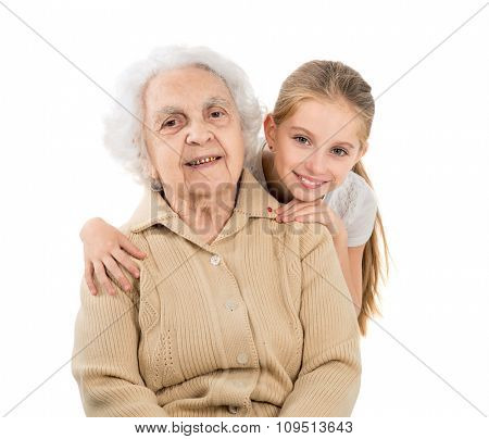 little girl with greatgrandmother portrait