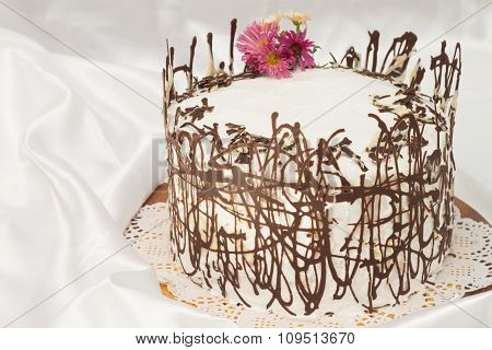 white cake with chocolate abstract mesh