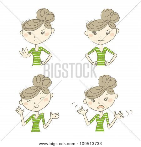 Women With Various Expression And Poses