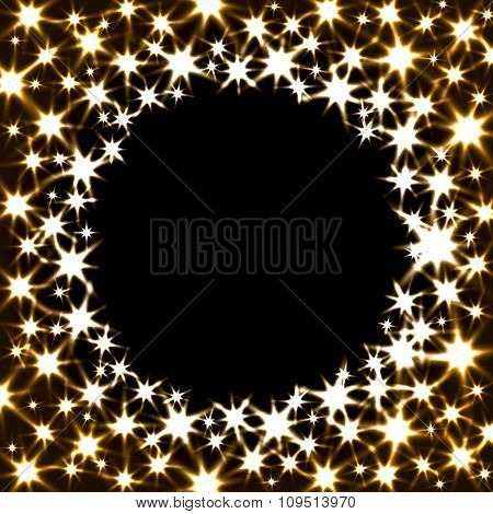 Vector Festive Banner with Shiny Stars and Round Place for Text